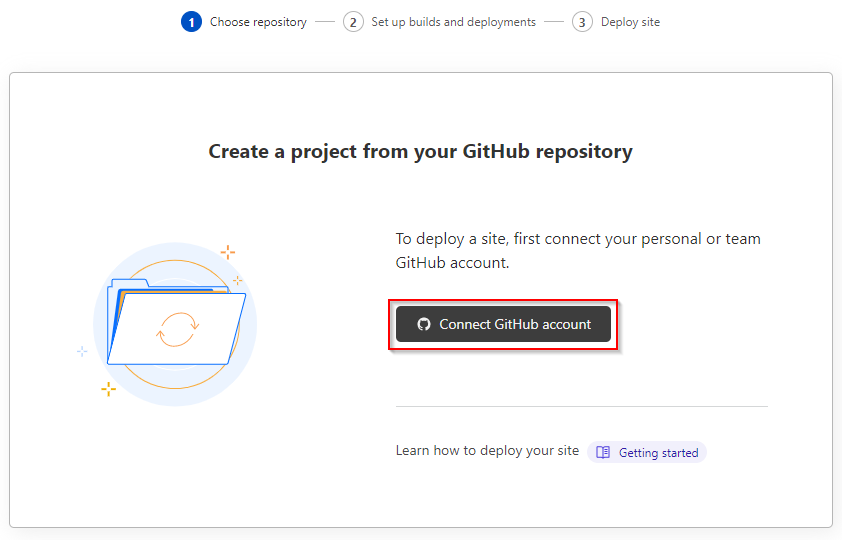 Starting the connect GitHub account wizard.